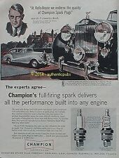 PUBLICITE CHAMPION ROLLS ROYCE SPARK PLUGS 1956 FRENCH AD PUB ANGLAISE VINTAGE