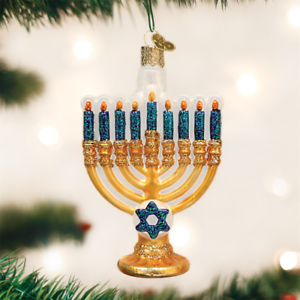 Christmas Hannakah.Details About Old World Christmas Menorah Hanukkah Glass Christmas Ornament 36177