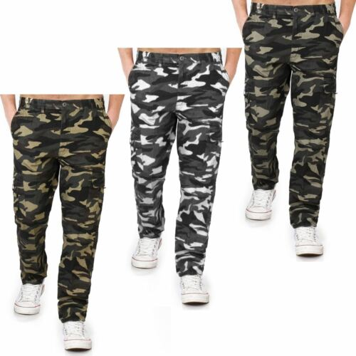 MENS CAMOUFLAGE TROUSERS MILITARY COMBAT CARGO POCKETS ARMY BOTTOMS WORK PANTS