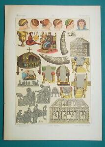 BYZANTINE-COSTUME-Women-Hairstyles-Organ-Harp-Throne-1883-Color-Litho-Print
