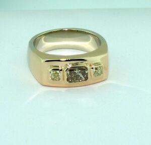 1-67-tcw-Cognac-amp-Yellow-Color-Diamond-18K-gold-three-stone-ring-size-13