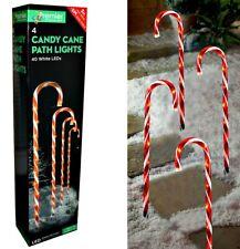 Set of 4 25cm Multi Coloured Candy Cane LED Pathfinder Christmas Lights