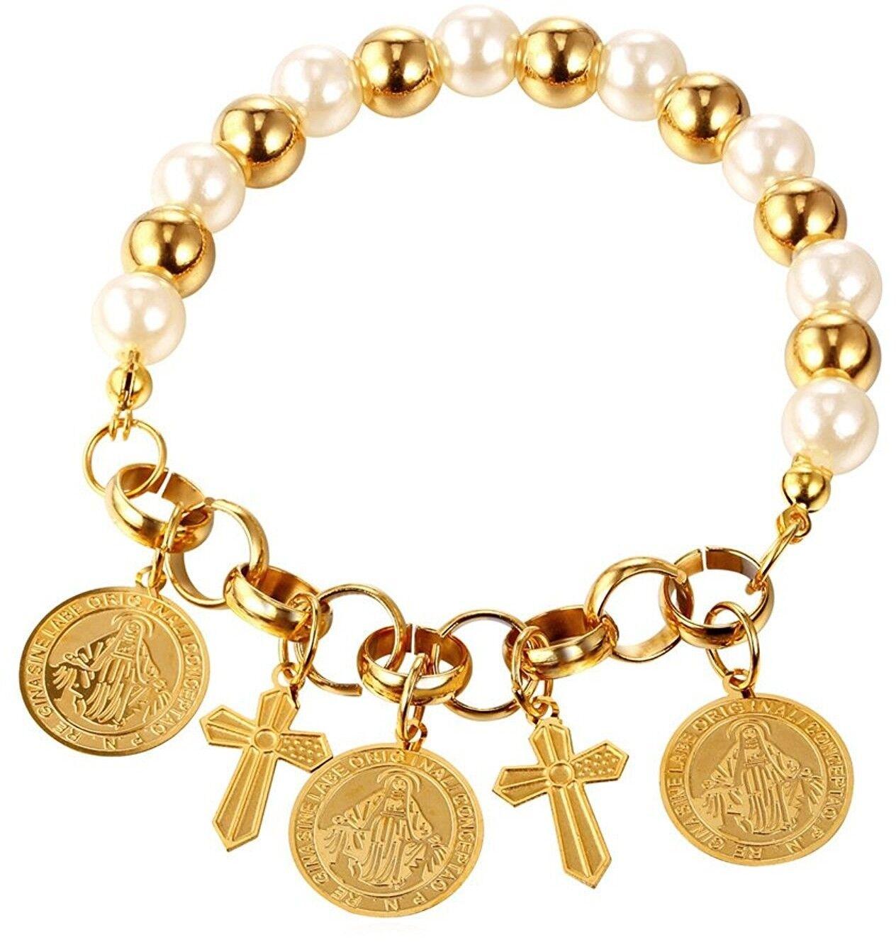 U7 Synthetic Pearl New Girls Women Gift 18K gold Plated Cross Charm Bracelet