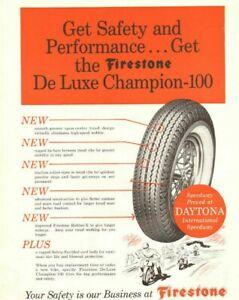 1962 Firestone De Luxe Champion 100 Motorcycle Tires Vintage Ad Ebay
