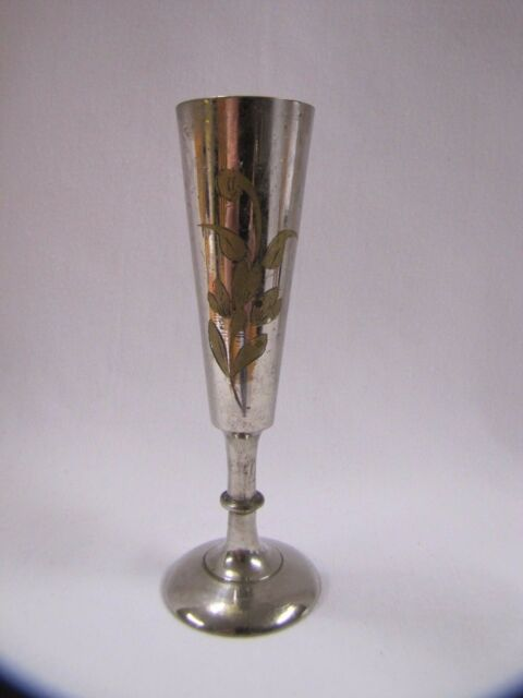 Vintage Etched Vase Cordial Shot Glass Inlaid Floral Design Silver