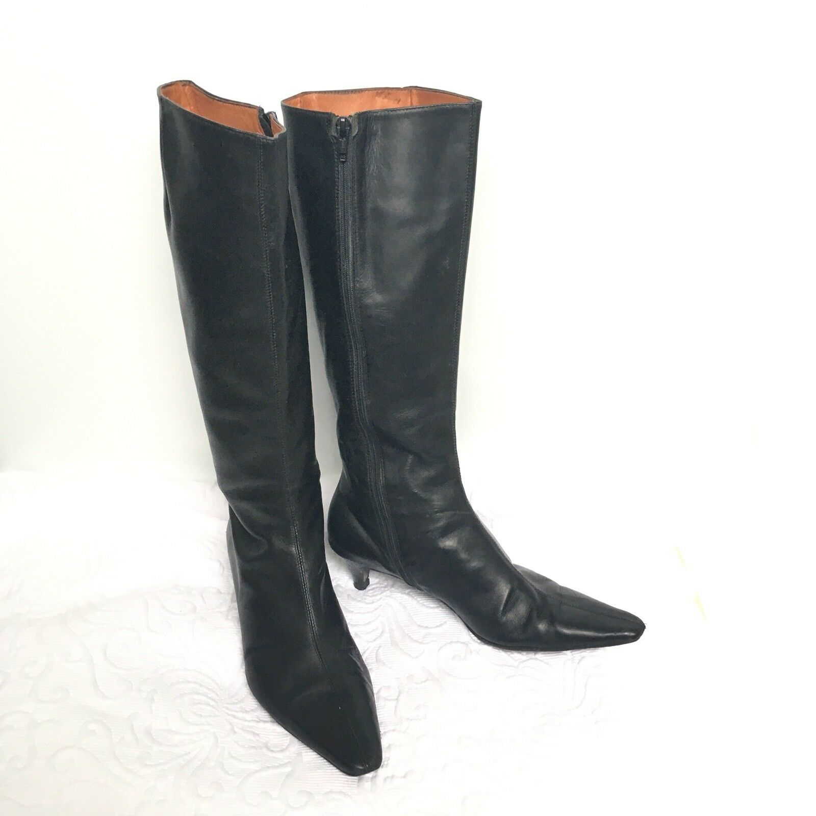J. CREW 8 Boots Kitten Heel Leather Made  Knee High Pointy Toe Classic