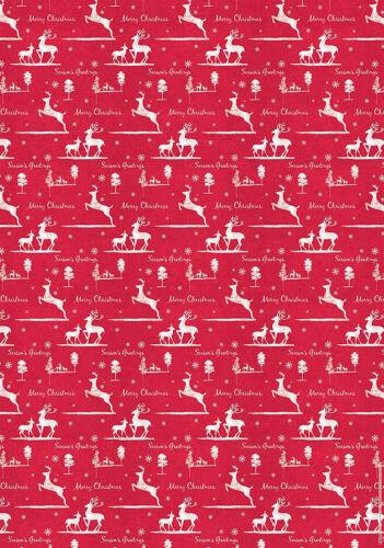 Christmas Reindeer Red White Xmas Season/'s Greetings gift wrap 5 sheets /& 5 tags
