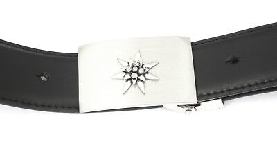 Sporting Edelweiss S Buckle And Belt Set Black Leather Ideal Flower Gift 115