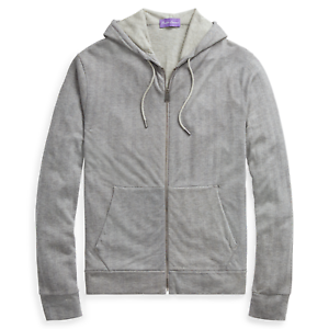 Ralph Lauren Purple Label Mens Grey Herringbone Zip Hoodie Cardigan Sweater NWT