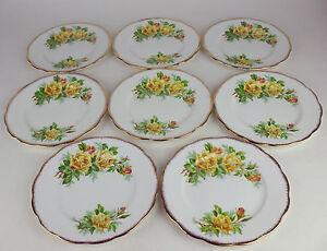 Set-x-8-Dessert-Side-Plates-7-1-8-034-Royal-Albert-Yellow-Tea-Rose-vintage