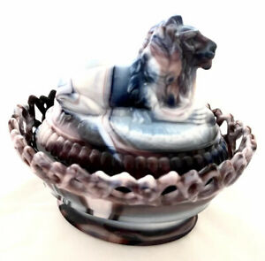 Genuine-Imperial-Crest-Slag-Glass-Purple-blue-and-white-Lion-Candy-Dish