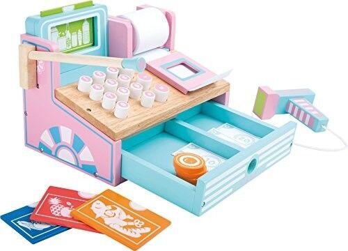 Kinder Registrierkasse Mit Hölzernes Mikrofon Scanner Halterung Spielzeuge