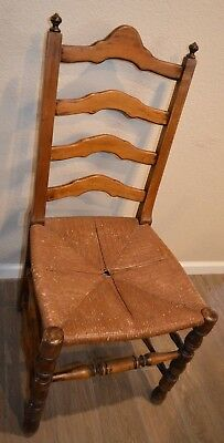 Vintage French Country Ladder Back Rush Seat Dining Chair Ebay