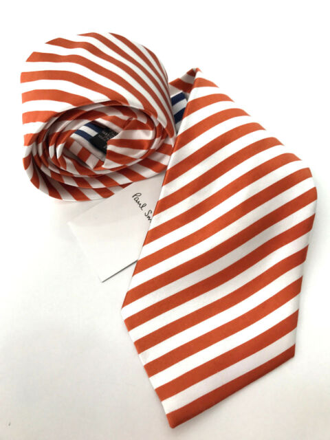 Paul Smith ORANGE Tie MAINLINE 6mm Burnt Orange /& White Stripe 8cm Blade