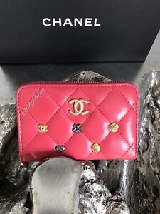 3fbff0b21ba3 NWT CHANEL Lucky Charms Coin Purse Card Holder Case 2018 Pink Lamb ...