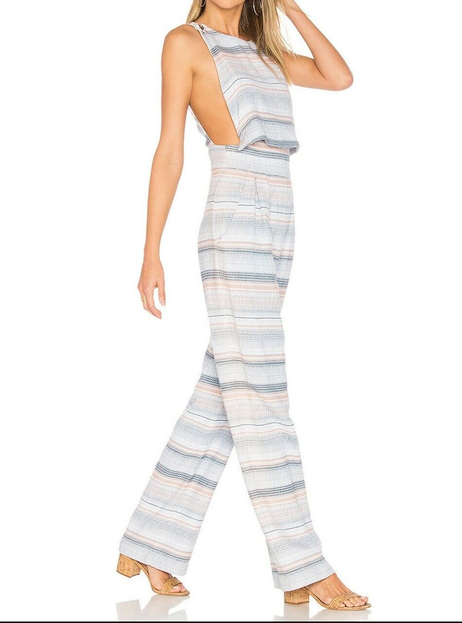 NWT Mara Hoffman woven striped overlay overlap jumpsuit 4 bluee artisan