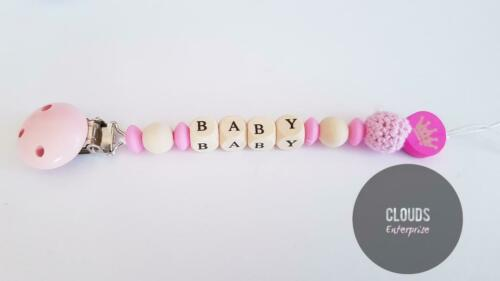 Personalised Baby Dummy Clip wooden//Silicon Pacifier Holder for baby toddlers