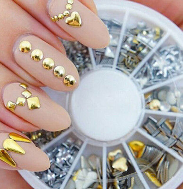 200PCS  Gold/Silver Metal Nail Art Decor Rhinestones Tips Metallic Studs