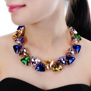 Women-Chunky-Choker-Statement-Bib-Necklace-Gold-Chain-6-Colors-Fashion-Jewelry