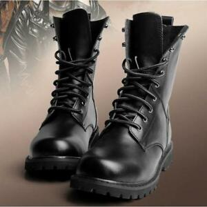 7f9b7f6d249 Chic Mens Leather Lace up High Top Combat Military Army Desert Ankle ...