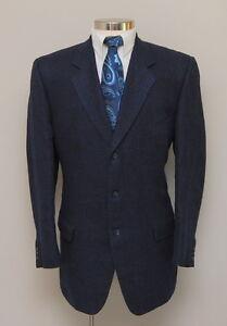 Mens-44R-Corneliani-Brown-and-Blue-Check-Flax-Wool-Blend-Blazer