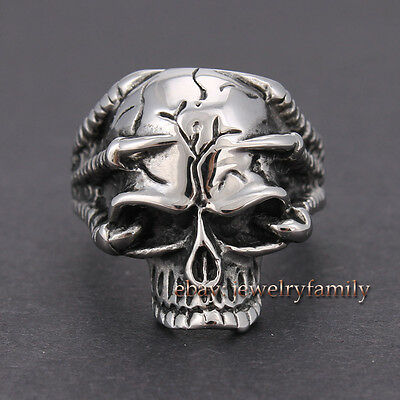 316L Stainless Steel Silver Magic Men's Gothic Paws Skull Biker Ring US Size7-11