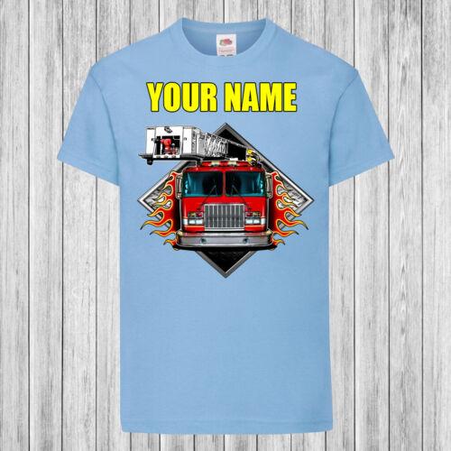 CAMION DEI POMPIERI FIAMME-Bambini//Bambini T-shirt DTG-personalizzato con nome