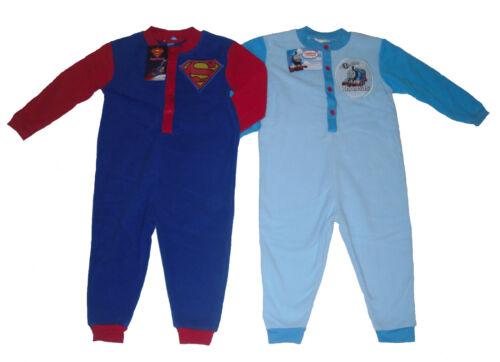 BOYS PYJAMAS ALL IN ONE JUMPSUIT FLEECE THOMAS THE TANK ENGINE /& SUPERMAN