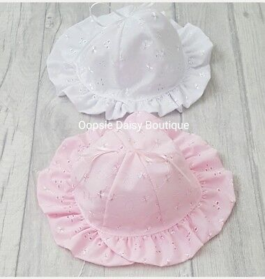 Pretty Baby Girls Romany Spanish Style Bonnet Broderie Anglaise Ribbon Bow Hat