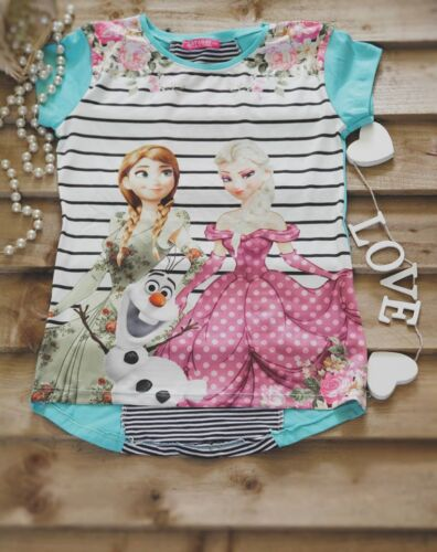 Girls Kids Frozen Top Spring Summer Layered Colorful Cotton Top