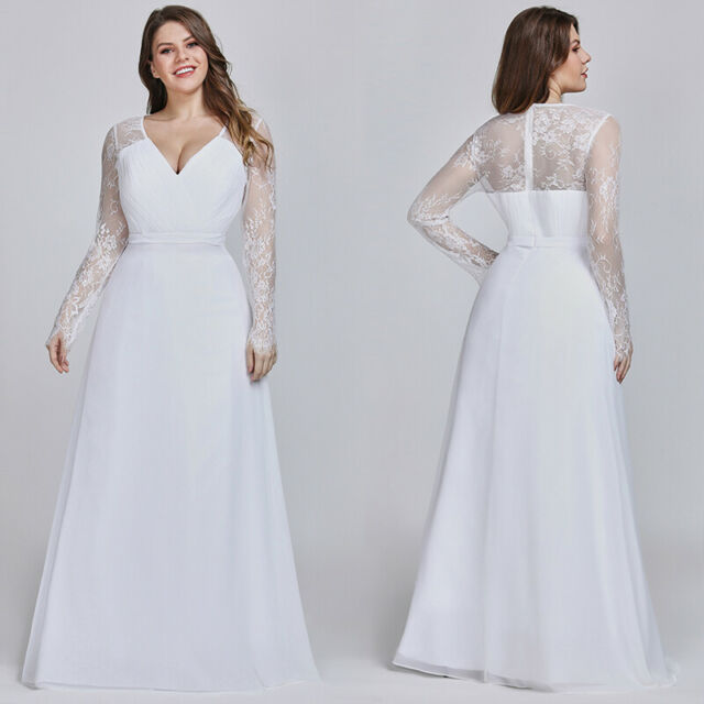 Plus Size US White Long Dress Chiffon Bridesmaid Evening Formal Party Gown  08692