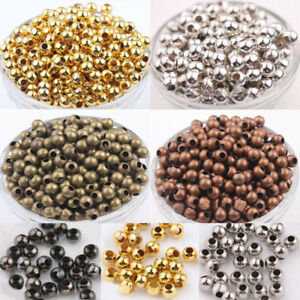 Beads 100pcs Metal Beads Smooth Ball Spacer Beads For Jewelry Making 3 4 5 6 8 10mm Gold/silver/bronze/silver Bead Jewelry Findings