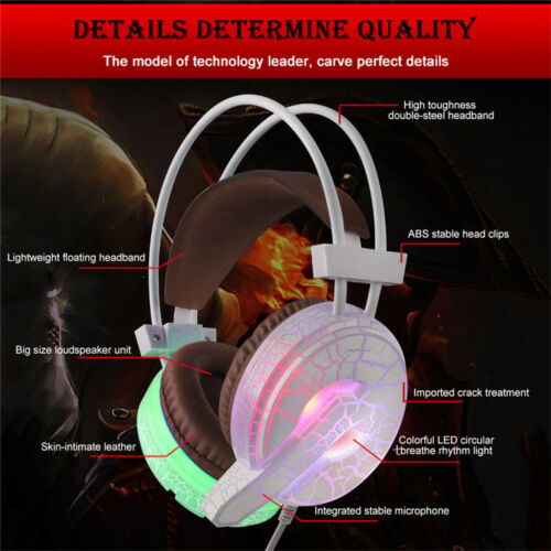 Professional Gaming Headset LED Light Earphone Headphone with Microphone H6