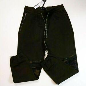 Hudson-Outerwear-mens-100-authentic-camo-drawstring-biker-sweatpants-green-LARGE