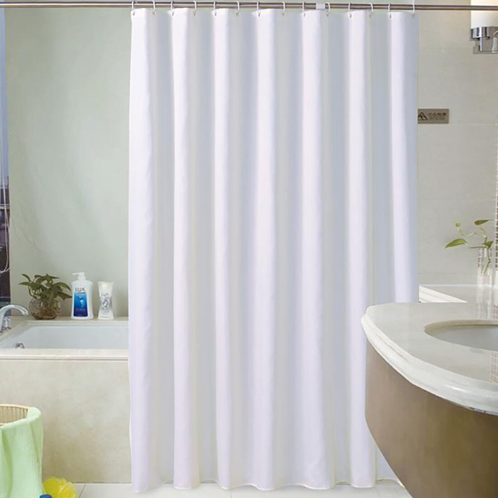 Waterproof Fabric Shower Curtain Bathroom Plain Home Hotel Decor With Ring Hook