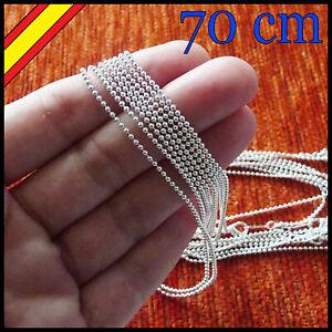 de20ba3f4065 Detalles de Cadena Plata 70 cm Collar Bolas Bolitas Acero Pulsera Tobillera  Plata Regalo