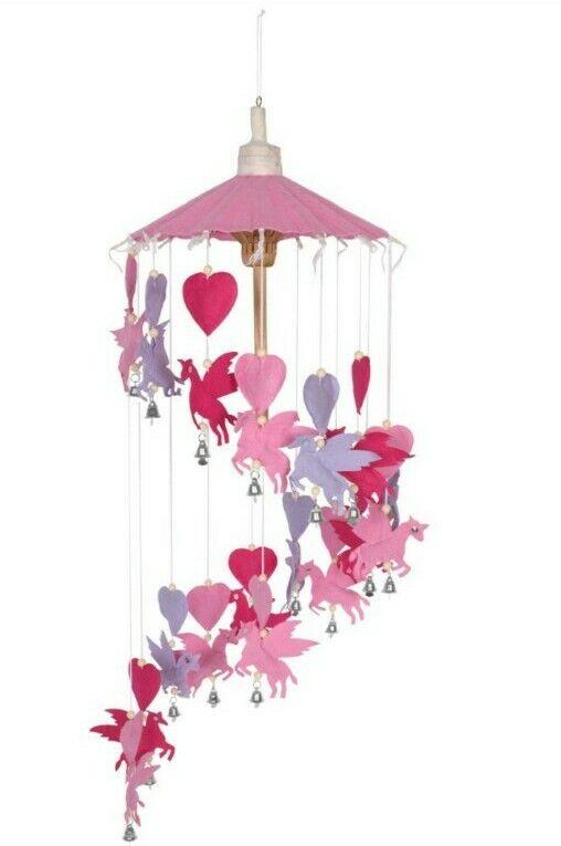 Unicorn Pegusus Pink & Purple SAA Paper Mobile Indoor Hand made in Thailand