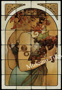 16x24 alphonse mucha fruit art nouveau mural tile tumbled for Art nouveau mural