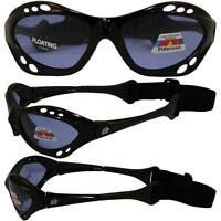 Floating Polarized Sunglasses With Built In Strap Black Frame Jet Skiing Fishing