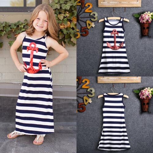Kids Baby Girls Boho Anchor Party Dress Sleeveless Stripe Dress Clothes Sundress