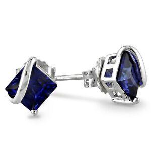 Haylee Jewels Sterling Silver Created Sapphire Stud Earrings