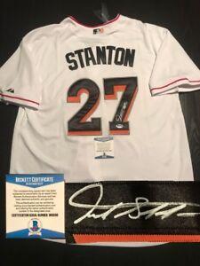 online retailer 35d9a 9b107 Details about GIANCARLO STANTON HAND SIGNED MIAMI MARLINS JERSEY PSA DNA  CERT