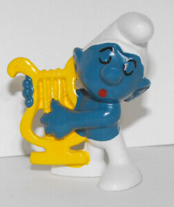 20070 Smurf playing Harp Vintage Plastic Figurine 2-inch Musician Figure Music