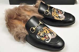 3cb24cdc3ca Image is loading GUCCI-Auth-Black-Princetown-Fur-Leather-Tiger-Embroidery-