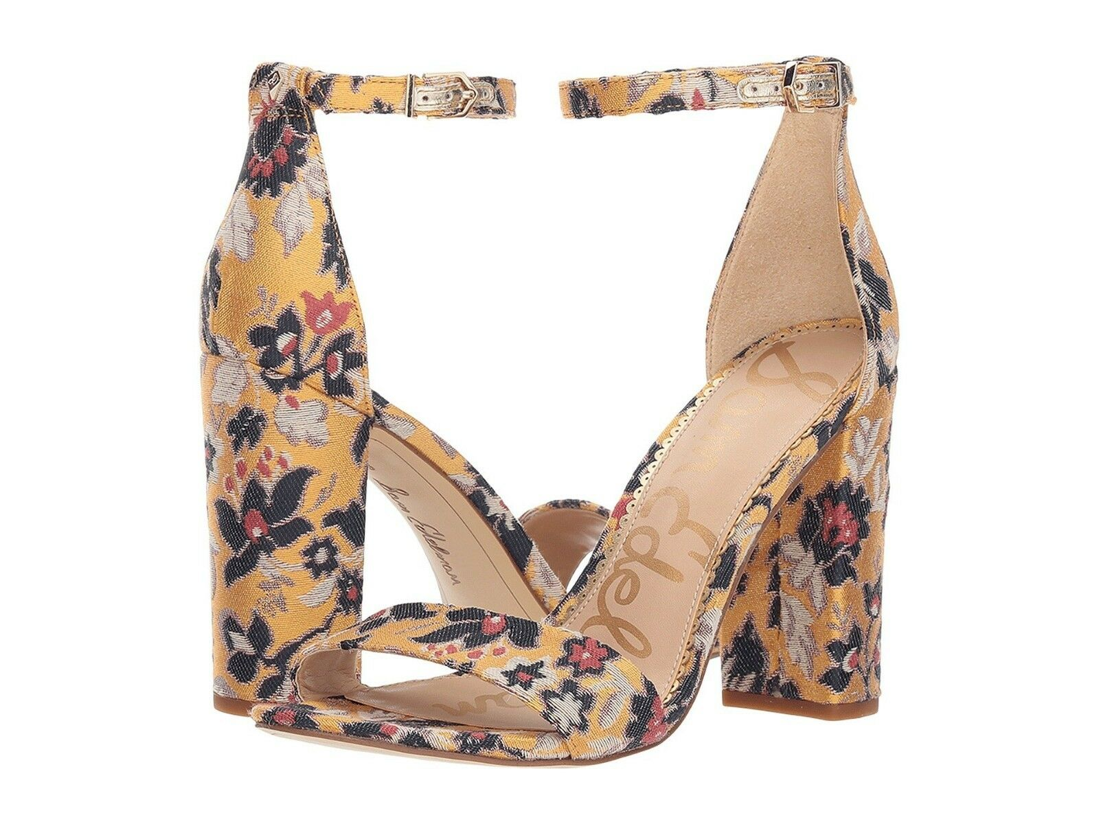 Sam Edelman Yaro Yellow Floral Jacquard Ankle Strap Block Heel Sandal NEW 7.5