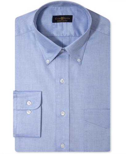 Nwt $95 Club Room Men Regular-Fit Blue Long-Sleeve Button Dress Shirt 16.5 36//37