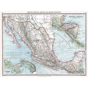 Antique Map 1906 - Mexico, Central America With British Honduras - Harmsworth