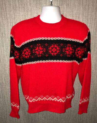 Welgrume Sportswear Mens Red Acrylic Crewneck Swea