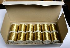 Box of Gold Metallic Embroidery Thread, 12 spools, 25 m long each. Brand New!!