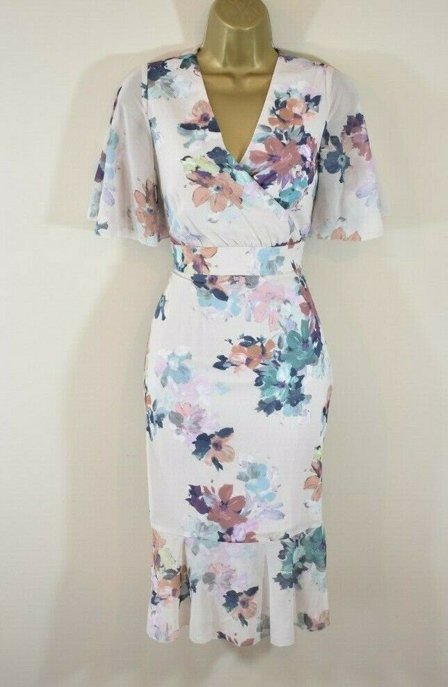 189 € Nouvelle Phase Eight Keely 8 Floral Kimono Manches Mariage Courses Croisière Robe